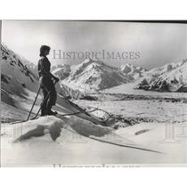 1956 Press Photo Skier overlooking asmas Glacier, New Zealand's South Island