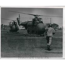1961 Press Photo Helicopters in Field at Harlingen, Texas. - hcx04657