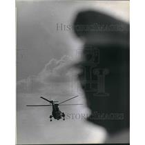 1966 Press Photo helicopter against the dark sky - hcx05201