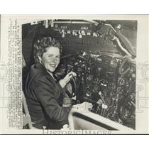 1948 Press Photo Dianna Cyrus in Cockpit of her A-26 Bomber - nox14312