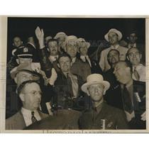1938 Press Photo Welcoming Committee Greets Aviator Douglas Corrigan in New York