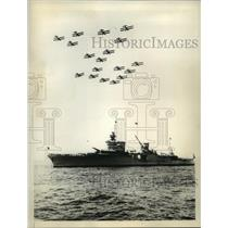 1934 Press Photo Fleet pilots flew over the Cruiser Indianapolis - sba17474