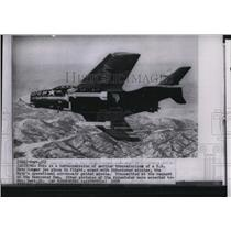 1958 Press Photo One of Navy Aviation bombers, US Navy Cougar armed with missile
