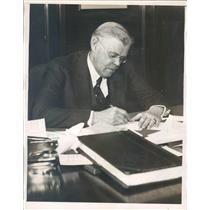1933 Press Photo Detroit MI James McEvoy President National Bank - ner50939