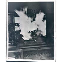 1932 Press Photo Detroit MI Chrysler Corp Flames Engulf Ring Gear - ner51205