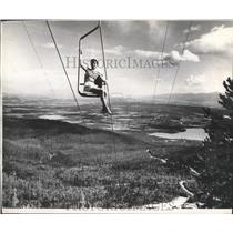 1958 Press Photo Chairlift Ride on Big Mountain at Whitefish in Montana