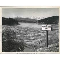 1953 Press Photo Powerhorn Bay-logs at the side of the bay - spa87394