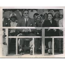 1948 Press Photo Cuban Pres Dr Carlos Prio Socarras Reviews Military Parade