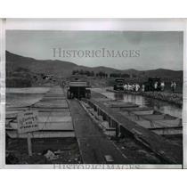 1950 Press Photo Army Pontoon Bridge across river near Taegu - nem48717
