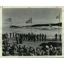1966 Press Photo Flag raising ceremony at McMurdo Station in Antarctica