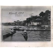 1908 Press Photo 1908 Milwaukee Rowing club on the Milwaukee river. - mjx43826