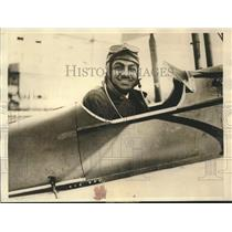 1929 Press Photo Indian Pilot P.M Kabali Shown in Plane He Hopes to Fly to India