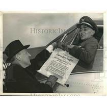 1948 Press Photo Capt Jack Knight Receives Scroll Commemorating Coast Flight