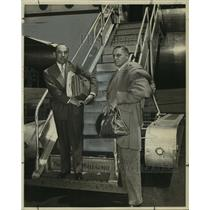 1950 Press Photo Hermann B. Deutsch standing at Airport. - noa90136