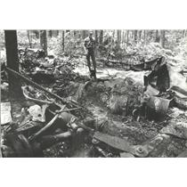 1981 Press Photo Soldier Surveys Plane Wreckage in South Alabama - abna10226
