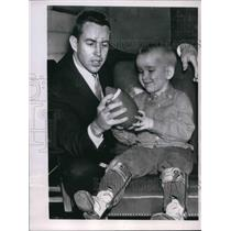 1965 Press Photo Football-Jack Kemp shares fond interest with Timmy Edwards.