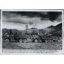 1950 Press Photo Army Trucks line up at supply center south of Yongdong