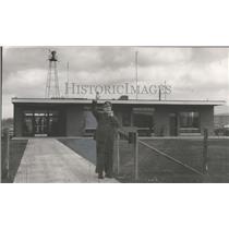 1952 Press Photo Edwin Lamberth in front of new Admin Bldg Huntsville Airport