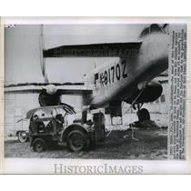 1960 Press Photo Private Airplane prepared to withstand Hurricane Donna in Tampa
