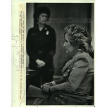 1987 Press Photo Catherine Dodds waits verdict at Parole hearing at St. Gabriel.