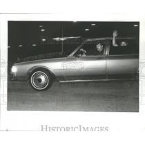 Press Photo Man waves from car at Talledega, Alabama - abna12374