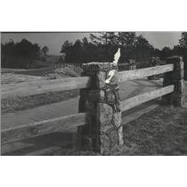 1948 Press Photo Rustic wood and rock fence on Talladega Scenic Trail, Alabama