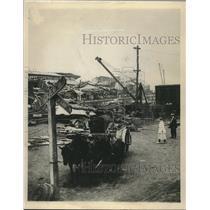1916 Press Photo Scene of Black Tom explosion in New York Harbor in 1916