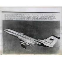 1964 Press Photo Soviet 64-Passenger TU-134 Jet Airplane in Moscow - nem49719