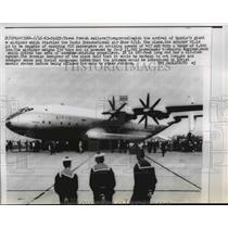 1965 Press Photo Arrival of Russian Giant Airliner at Paris Intl. Air Show