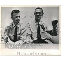 1961 Press Photo John Yandell and W.E. Buchana describe hi-jacking incident