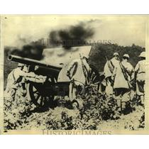 1935 Press Photo A Striking Picture of Italian Artillery in Action at Adowa