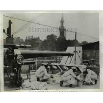 1933 Press Photo Coast Guard Cadets aboard Cutter Sebago shown cleaning hatches