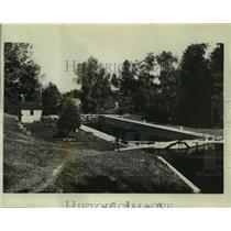 1934 Press Photo Winnebago lock ship Canal, Portage Wisconsin - mjb89864