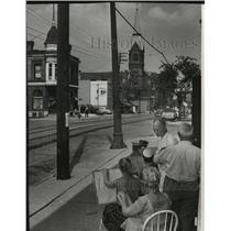 1956 Press Photo Art class members sketche St. Hedwig's Catholic church