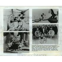 1928 Press Photo Scenes from Steamboat Willie, Alpine Climbers & Plutopia.