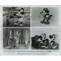 """1928 Press Photo Mickey Mouse in """"Steamboat Willie,"""" """"The Dognapper"""" """"Fantasia"""""""