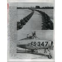 1954 Press Photo Army Plane F-84F dragged 3 heavy double chains over 781 feet