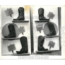 1970 Press Photo Boots at National Cowboy Hall of Fame in Oklahoma City, Ok.