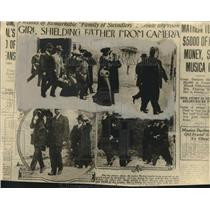 1913 Press Photo Philip Musica and family being arrested for fraud - noo15471