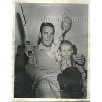 1949 Press Photo Jack Kramer Son Racquets Tennis - RRQ05117