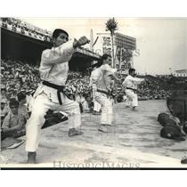 1965 Press Photo Karate Specialists demonstrate skills at baseball game in Japan
