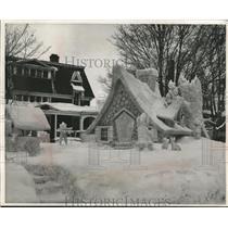 1955 Press Photo Snow sculpture, College of Mining Tech,Kappa Delta Psi