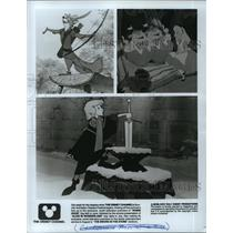 1985 Press Photo Scenes of Robin Hood, Alice in Wonderland & Sword in the Stone.