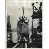 1940 Press Photo Civil War U.S.S. Ericsson Launched at Drydock Company Plant