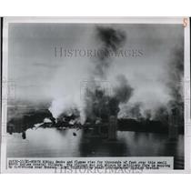 1931 Press Photo Smoke From a Village Set Ablaze by Artillery Fire in Korea