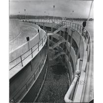 1972 Press Photo Stairways Link Parking Deck Levels at Birmingham Airport