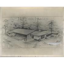 1953 Press Photo drawing of Vestavia Hills Methodist church, Alabama - abna27328
