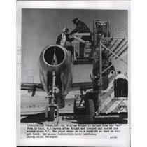 1955 Press Photo William Wright on to a forklift after the atomic bomb tests
