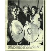 1972 Press Photo Mexican President Echeverria signs autographs for admirers.