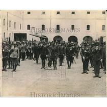 1923 Press Photo King Alfonso reviews loyal troops and marches ahead of them